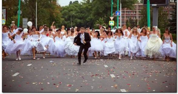 A crowd of brides chasing the groom