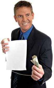 A man with cunning face is holding a fishing line with a bill attached to it