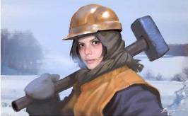 Beautiful Russian girl with a sledgehammer on her shoulder