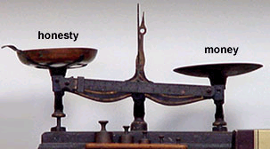 Scales. On the one side is fairness, on another side is money