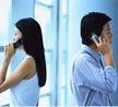 Man and woman talking on the phone